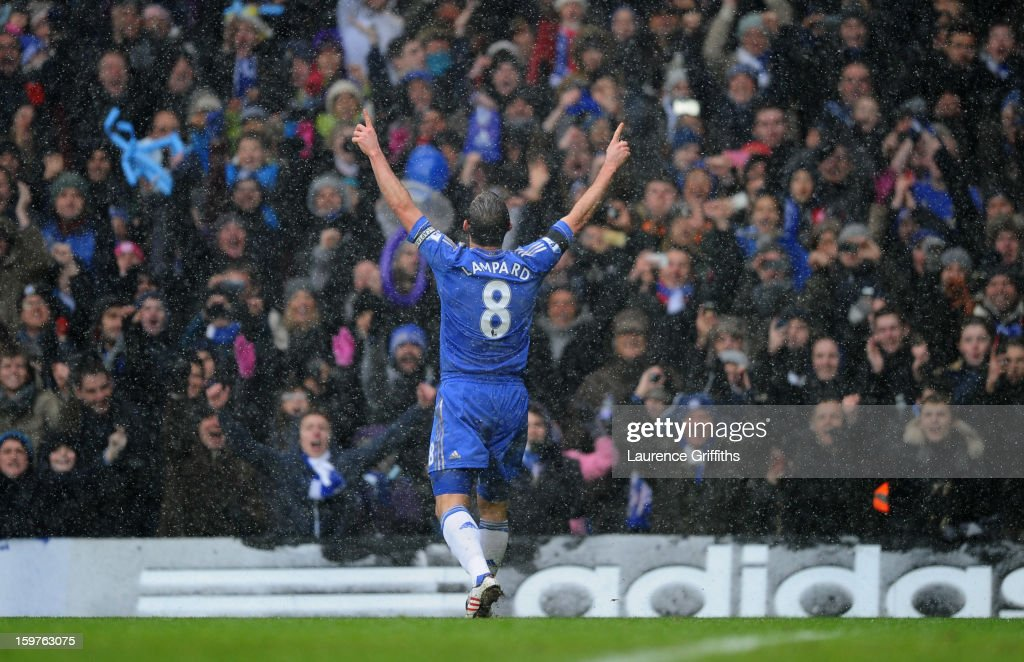 Frank Lampard of Chelsea celebrates as he scores their second goal from the penalty spot during the Barclays Premier League match between Chelsea and Arsenal at Stamford Bridge on January 20, 2013 in London, England.