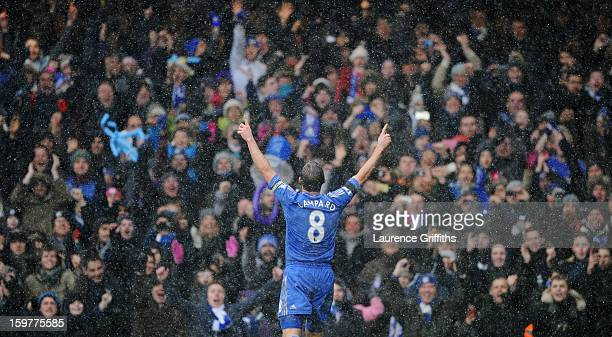 Frank Lampard of Chelsea celebrates as he scores their second goal from the penalty spot during the Barclays Premier League match between Chelsea and...