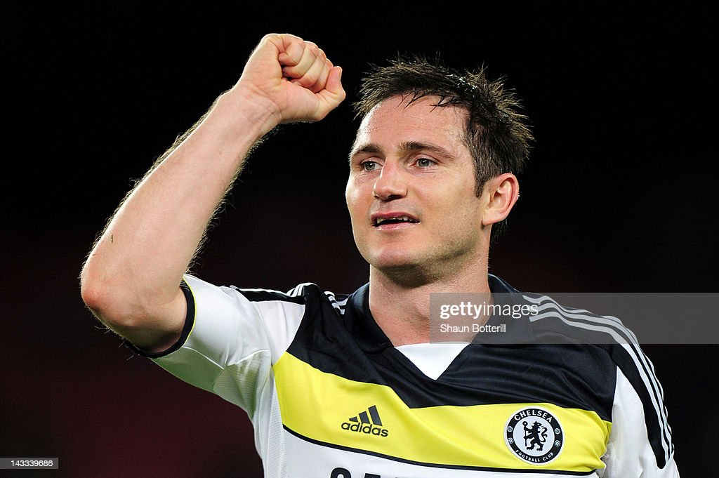 Frank Lampard of Chelsea celebrates at the final whistle during the UEFA Champions League Semi Final, second leg match between FC Barcelona and Chelsea FC at Camp Nou on April 24, 2012 in Barcelona, Spain.