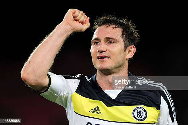 Frank Lampard of Chelsea celebrates at the final whistle during the UEFA Champions League Semi Final second leg match between FC Barcelona and...
