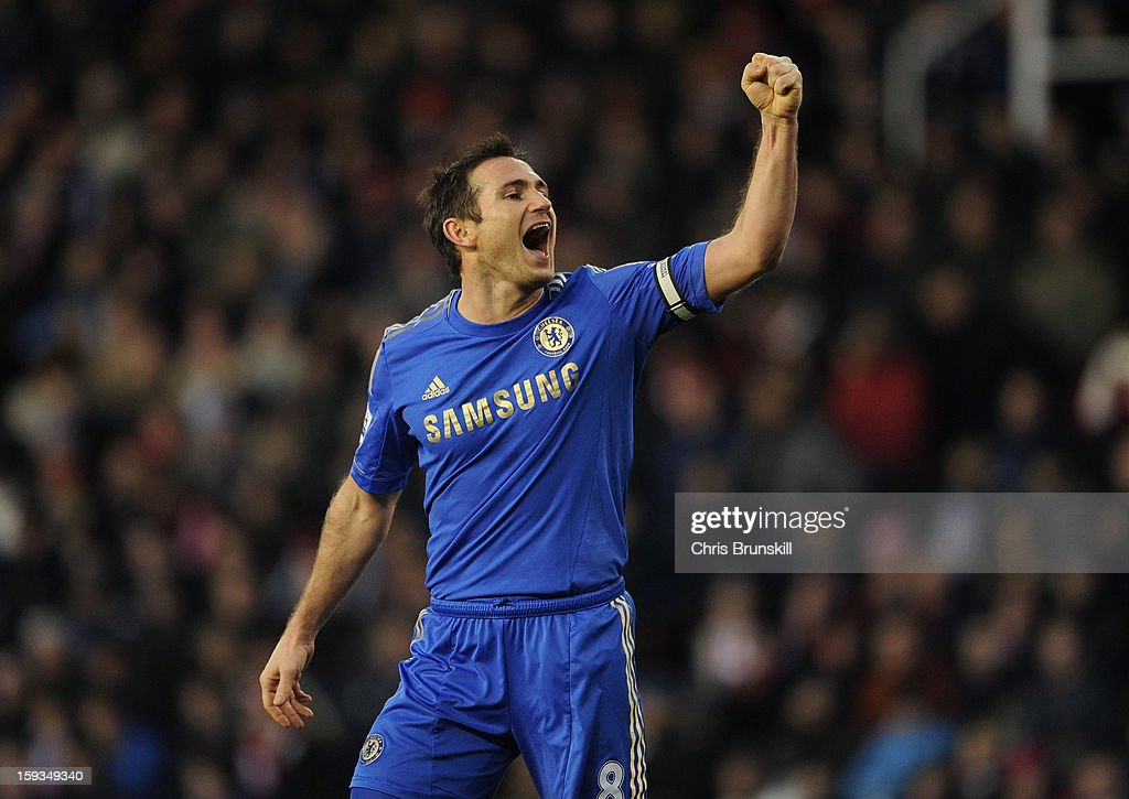 <a gi-track='captionPersonalityLinkClicked' href=/galleries/search?phrase=Frank+Lampard+-+Born+1978&family=editorial&specificpeople=11497645 ng-click='$event.stopPropagation()'>Frank Lampard</a> of Chelsea celebrates during the Barclays Premier League match between Stoke City and Chelsea at the Britannia Stadium on January 12, 2013, in Stoke-on-Trent, England.
