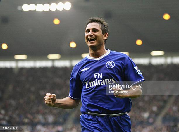 Frank Lampard of Chelsea celebrates during the Barclays Premiership match between West Bromwich Albion and Chelsea at the Hawthorns on October 30...