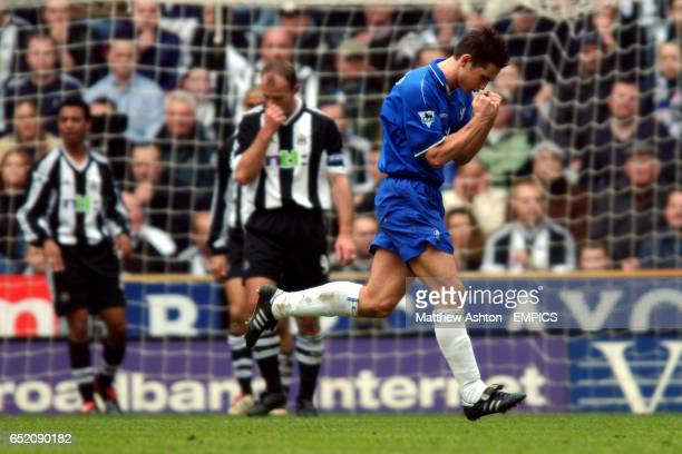 Frank Lampard of Chelsea celebrates his equalising goal to make it 11 against Newcastle United