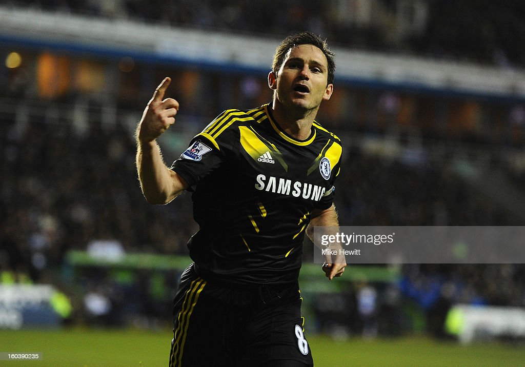 <a gi-track='captionPersonalityLinkClicked' href=/galleries/search?phrase=Frank+Lampard+-+Born+1978&family=editorial&specificpeople=11497645 ng-click='$event.stopPropagation()'>Frank Lampard</a> of Chelsea celebrates his goal during the Barclays Premier League match between Reading and Chelsea at Madejski Stadium on January 30, 2013 in Reading, England.