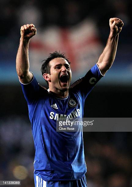 Frank Lampard of Chelsea celebrates his team's victory after the final whistle during the UEFA Champions League round of 16 second leg match between...