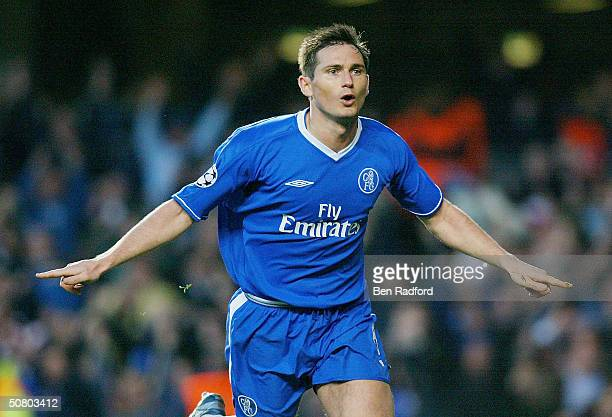 Frank Lampard of Chelsea celebrates scoring a goal during the UEFA Champions League Semi Final 2nd Leg match between Chelsea and AS Monaco at...