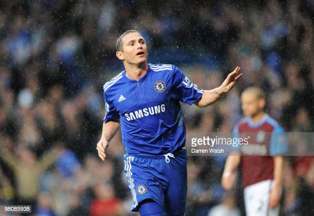 Frank Lampard of Chelsea celebrates scoring four goals during the Barclays Premier League match between Chelsea and Aston Villa at Stamford Bridge on...