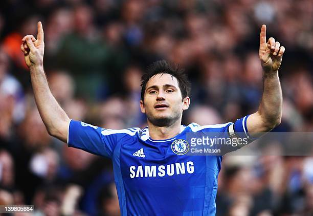 Frank Lampard of Chelsea celebrates scoring his sides third goal during the Barclays Premier League match between Chelsea and Bolton Wanderers at...