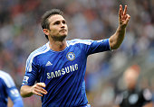 Frank Lampard of Chelsea celebrates scoring his team's fifth goal and his hat trick during the Barclays Premier League match between Bolton Wanderers...
