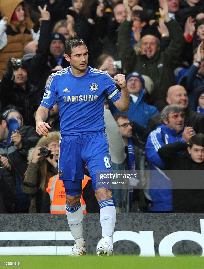 <a gi-track='captionPersonalityLinkClicked' href=/galleries/search?phrase=Frank+Lampard+-+Born+1978&family=editorial&specificpeople=11497645 ng-click='$event.stopPropagation()'>Frank Lampard</a> of Chelsea celebrates scoring the opening goal during the Barclays Premier League match between Chelsea and West Ham United at Stamford Bridge on March 17, 2013 in London, England.