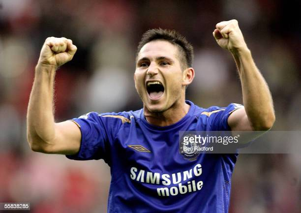 Frank Lampard of Chelsea celebrates the victory after the Barclays Premiership match between Liverpool and Chelsea at Anfield on October 2 2005 in...