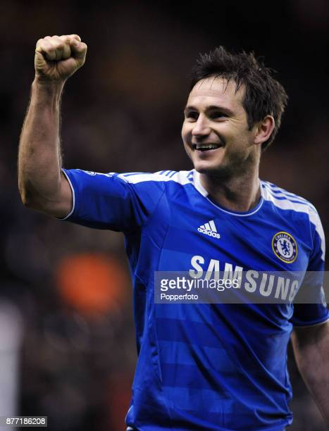 Frank Lampard of Chelsea celebrates towards the fans after a Barclays Premier League match between Wolverhampton Wanderers and Chelsea at Molineux on...