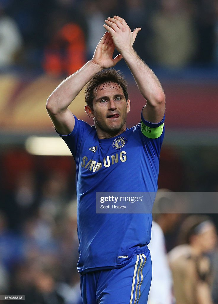 <a gi-track='captionPersonalityLinkClicked' href=/galleries/search?phrase=Frank+Lampard+-+Born+1978&family=editorial&specificpeople=11497645 ng-click='$event.stopPropagation()'>Frank Lampard</a> of Chelsea celebrates victory after the UEFA Europa League semi-final second leg match between Chelsea and FC Basel 1893 at Stamford Bridge on May 2, 2013 in London, England.