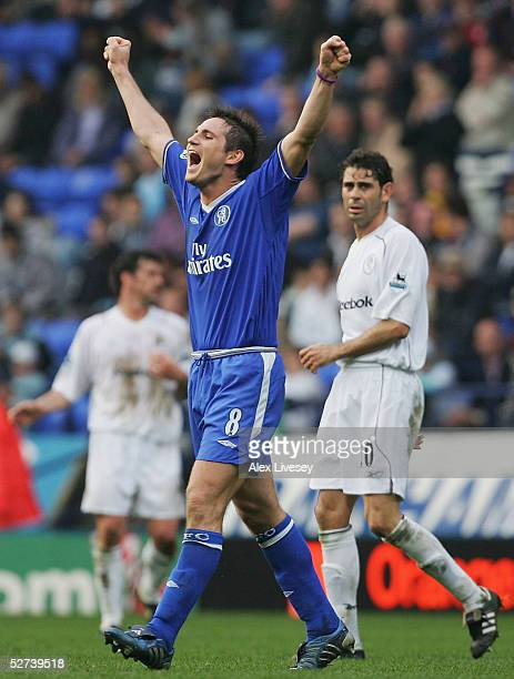 Frank Lampard of Chelsea celebrates winning the Premiership after victory over Bolton Wanderers in the Barclays Premiership match between Bolton...