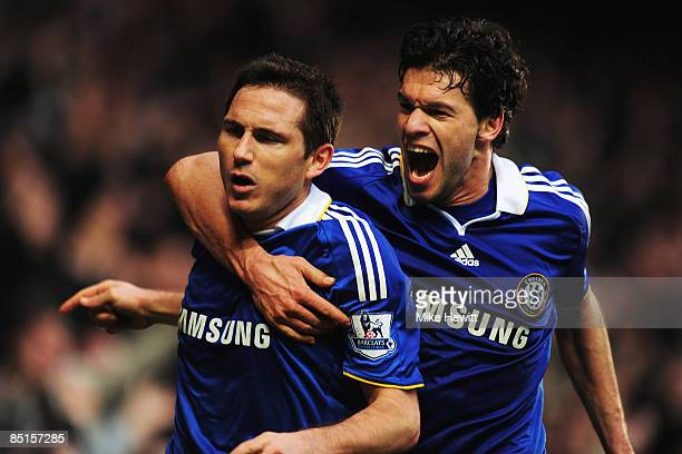 Frank Lampard of Chelsea celebrates with team mate Michael Ballack after scoring the winning goal during the Barclays Premier League match between...