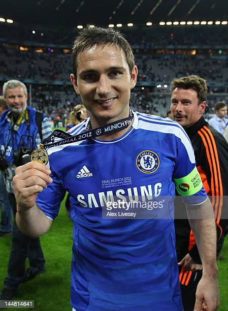 Frank Lampard of Chelsea celebrates with the medal after their victory in the UEFA Champions League Final between FC Bayern Muenchen and Chelsea at...