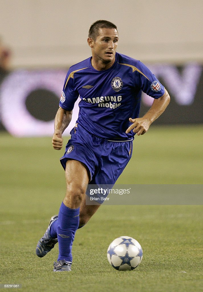 Frank Lampard #8 of Chelsea FC moves the ball through midfield against AC Milan during their World Series of Football friendly match on July 24, 2005 at Gillette Stadium in Foxboro, Massachusetts. Chelsea won 1-0.