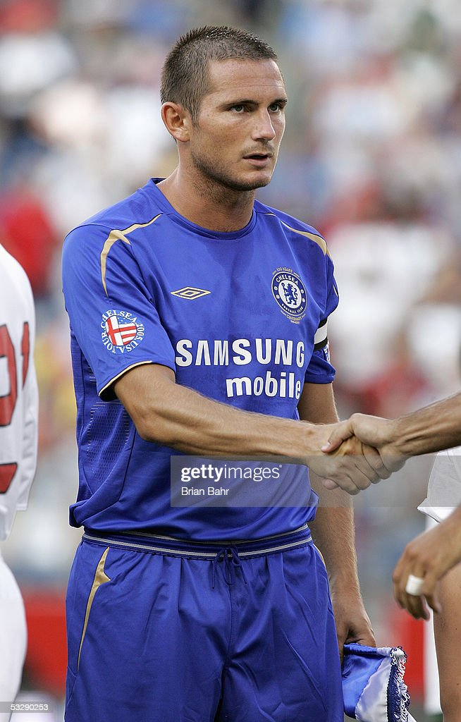 Frank Lampard #8 of Chelsea FC shakes a hand prior to taking on AC Milan in their World Series of Football friendly match on July 24, 2005 at Gillette Stadium in Foxboro, Massachusetts. Chelsea won 1-0.