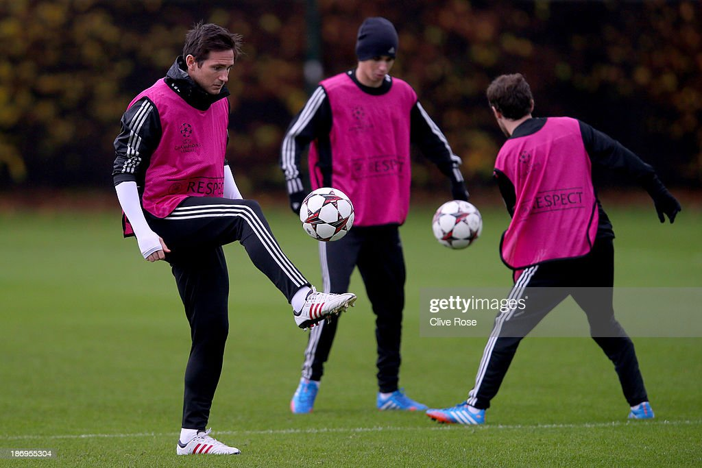 Frank Lampard of Chelsea in action during a Chelsea training session on November 5 2013 in Cobham England
