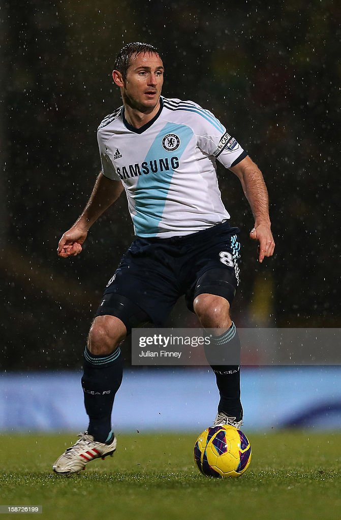 Frank Lampard of Chelsea in action during the Barclays Premier League match between Norwich City and Chelsea at Carrow Road on December 26, 2012 in Norwich, England.