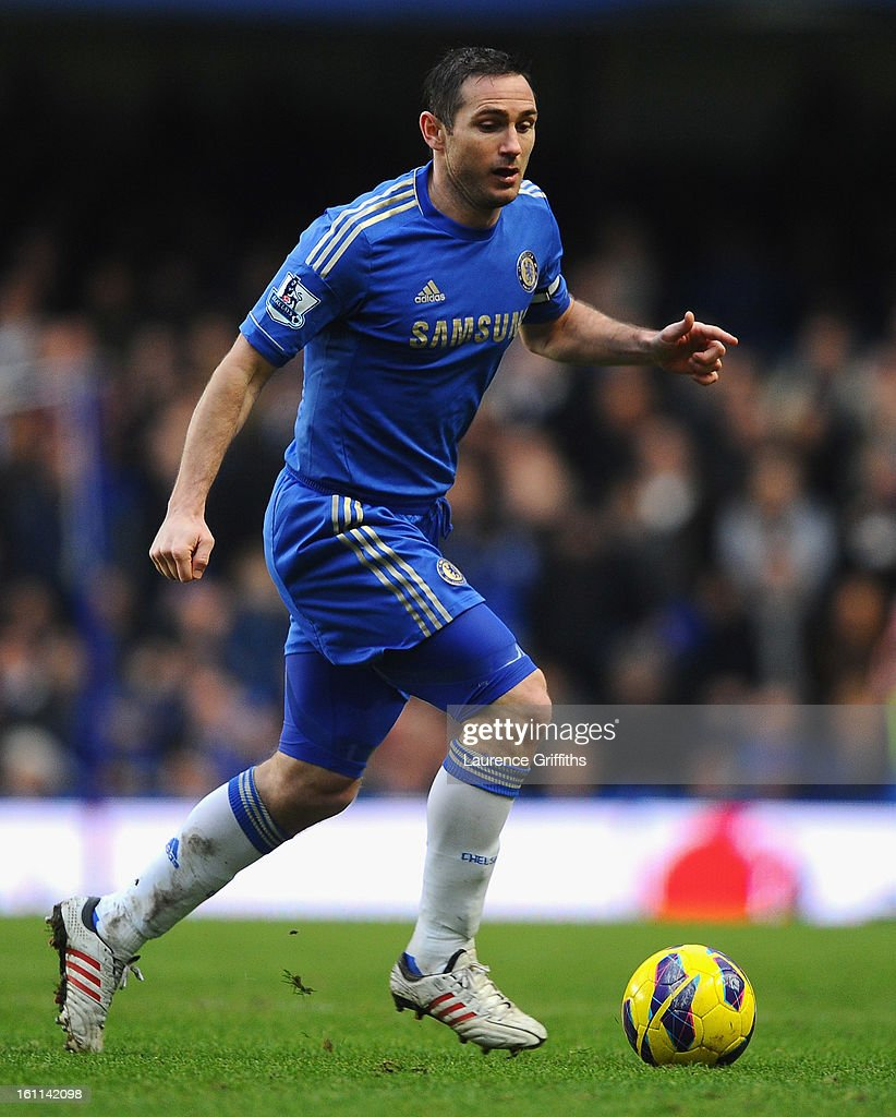 Frank Lampard of Chelsea in action during the Barclays Premier League match between Chelsea and Wigan Athletic at Stamford Bridge on February 9, 2013 in London, England.