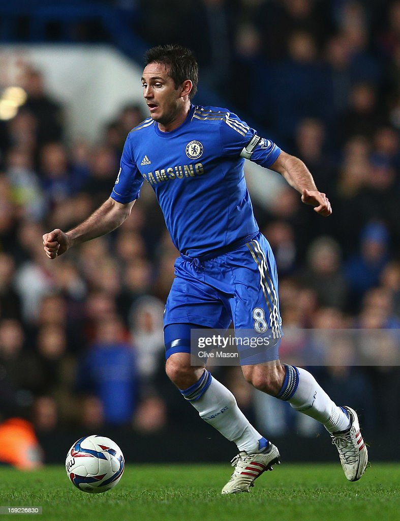 Frank Lampard of Chelsea in action during the Capital One Cup Semi-Final first leg match between Chelsea and Swansea City at Stamford Bridge on January 9, 2013 in London, England.