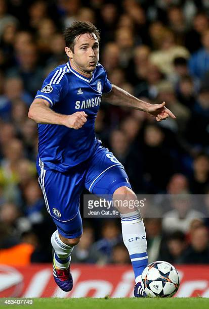 Frank Lampard of Chelsea in action during the UEFA Champions League quarter final match between Chelsea FC and Paris SaintGermain FC at Stamford...