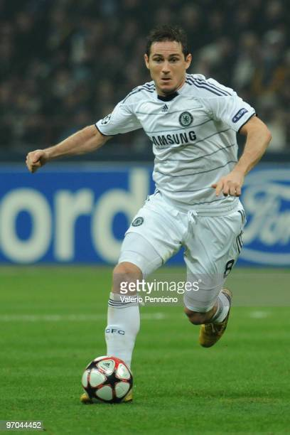 Frank Lampard of Chelsea in action during the UEFA Champions League round of 16 first leg match between Inter Milan and Chelsea on February 24 2010...