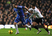 Frank Lampard of Chelsea is closed down by Rodrigo Moreno of Bolton Wanderers during the Barclays Premier League match between Chelsea and Bolton...