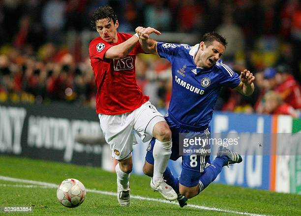 Frank Lampard of Chelsea is fouled by Owen Hargreaves of Manchester United during the UEFA Champions League Final between Chelsea and Manchester...
