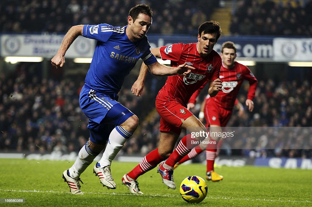 <a gi-track='captionPersonalityLinkClicked' href=/galleries/search?phrase=Frank+Lampard+-+Born+1978&family=editorial&specificpeople=11497645 ng-click='$event.stopPropagation()'>Frank Lampard</a> of Chelsea is put under pressure by <a gi-track='captionPersonalityLinkClicked' href=/galleries/search?phrase=Jack+Cork+-+Soccer+Player&family=editorial&specificpeople=4206991 ng-click='$event.stopPropagation()'>Jack Cork</a> of Southampton during the Barclays Premier League match between Chelsea and Southampton at Stamford Bridge on January 16, 2013 in London, England.