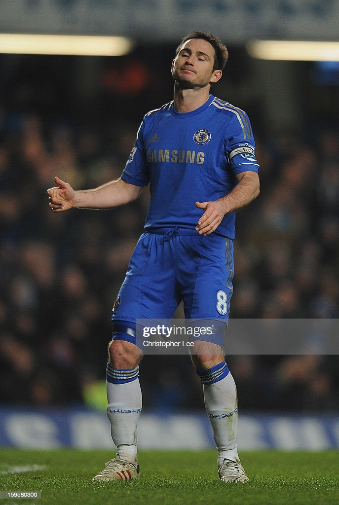 Frank Lampard of Chelsea looks dejected after his free kick just misses the target during the Barclays Premier League match between Chelsea and Southampton at Stamford Bridge on January 16, 2013 in London, England.
