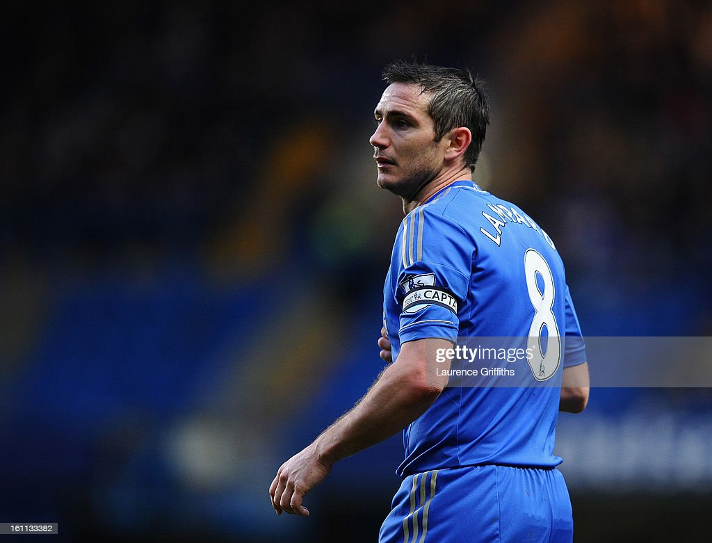 Frank Lampard of Chelsea looks on during the Barclays Premier League match between Chelsea and Wigan Athletic at Stamford Bridge on February 9, 2013 in London, England.