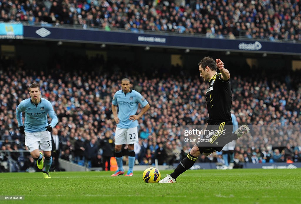 Frank Lampard of Chelsea misses a penalty during the Barclays Premier League match between Manchester City and Chelsea at Etihad Stadium on February 24, 2013 in Manchester, England.