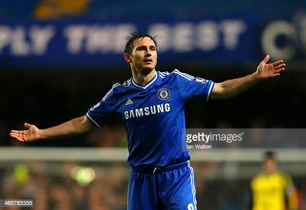 Frank Lampard of Chelsea reacts during the Barclays Premier League match between Chelsea and West Ham United at Stamford Bridge on January 29 2014 in...
