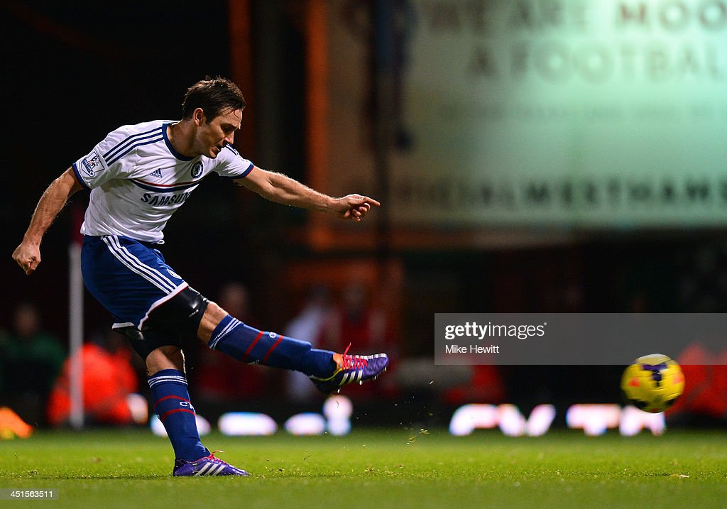 Frank Lampard of Chelsea scores the opening goal from the penalty spot during the Barclays Premier League match between West Ham United and Chelsea...