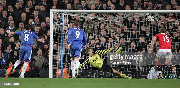 Frank Lampard of Chelsea scores their second goal during the Barclays Premier League match between Chelsea and Manchester United at Stamford Bridge...
