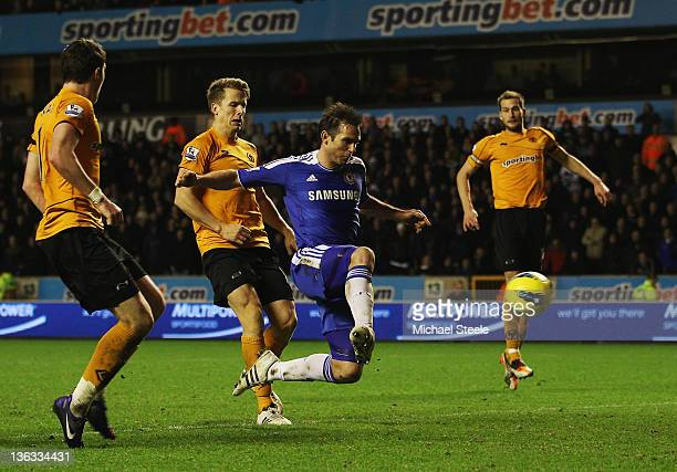 Frank Lampard of Chelsea scores their second goal during the Barclays Premier League match between Wolverhampton Wanderers and Chelsea at Molineux on...