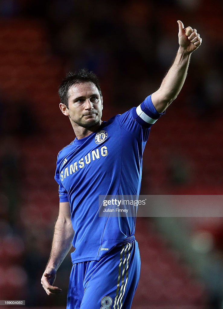 <a gi-track='captionPersonalityLinkClicked' href=/galleries/search?phrase=Frank+Lampard+-+Born+1978&family=editorial&specificpeople=11497645 ng-click='$event.stopPropagation()'>Frank Lampard</a> of Chelsea thanks the support after the FA Cup Third Round match between Southampton and Chelsea at St Mary's Stadium on January 5, 2013 in Southampton, England.