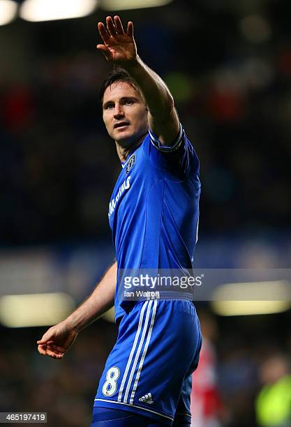 Frank Lampard of Chelsea waves to the fans during the FA Cup Fourth Round between Chelsea and Stoke City at Stamford Bridge on January 26 2014 in...