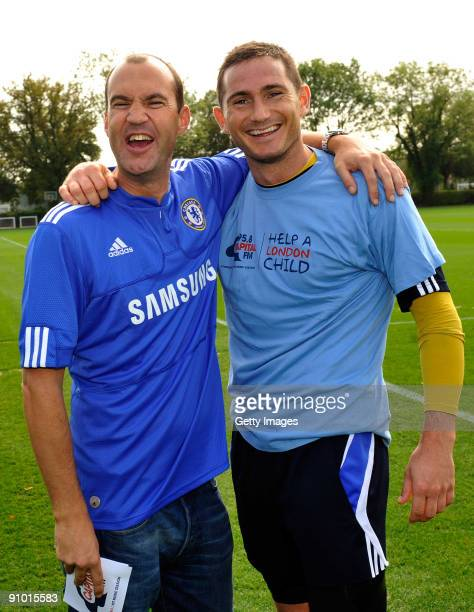 Frank Lampard of Chelsea with Johnny Vaughan during the launch of Chelsea FC's partnership with Capital Radio's charity Help a London Child at the...