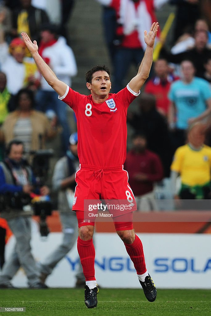 Frank Lampard of England appeals after his goal is disallowed during the 2010 FIFA World Cup South Africa Round of Sixteen match between Germany and...