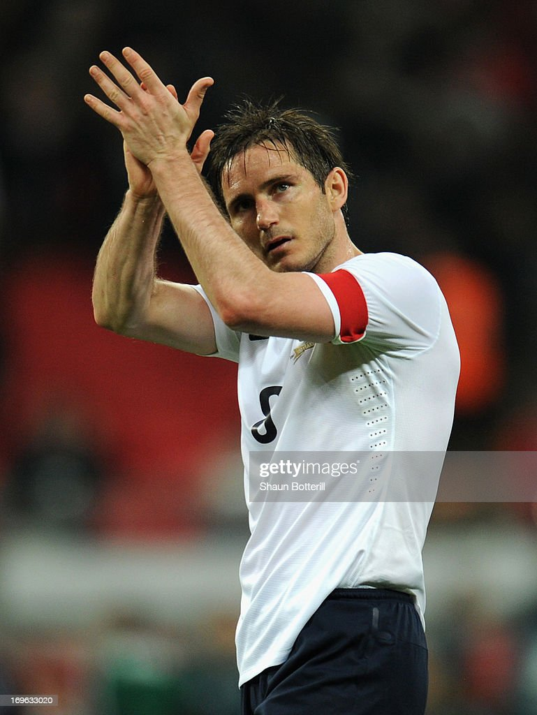 <a gi-track='captionPersonalityLinkClicked' href=/galleries/search?phrase=Frank+Lampard+-+Born+1978&family=editorial&specificpeople=11497645 ng-click='$event.stopPropagation()'>Frank Lampard</a> of England applauds the crowd after the International Friendly match between England and the Republic of Ireland at Wembley Stadium on May 29, 2013 in London, England.