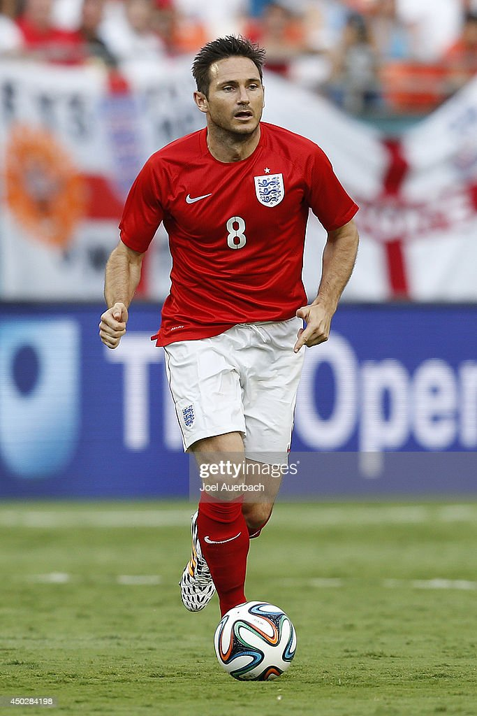 Frank Lampard #8 of England brings the ball up field against Honduras on June 7, 2014 during an International friendly match at SunLife Stadium in Miami Gardens, Florida. The game ended in a 0-0 tie.