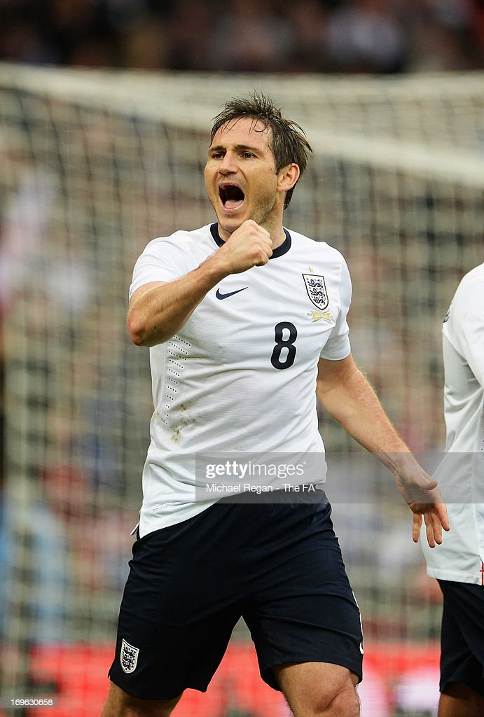 <a gi-track='captionPersonalityLinkClicked' href=/galleries/search?phrase=Frank+Lampard+-+Born+1978&family=editorial&specificpeople=11497645 ng-click='$event.stopPropagation()'>Frank Lampard</a> of England celebrates after scoring a goal during the International Friendly match between England and Republic of Ireland at Wembley Stadium on May 29, 2013 in London, England.