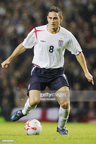 Frank Lampard of England in action during the FIFA World Cup Group 6 qualifying match between England and Poland at Old Trafford on October 12 2005...