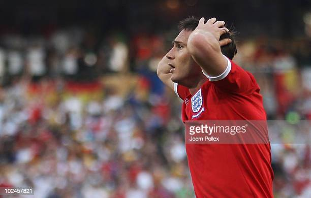 Frank Lampard of England is stunned after his goal is disallowed during the 2010 FIFA World Cup South Africa Round of Sixteen match between Germany...