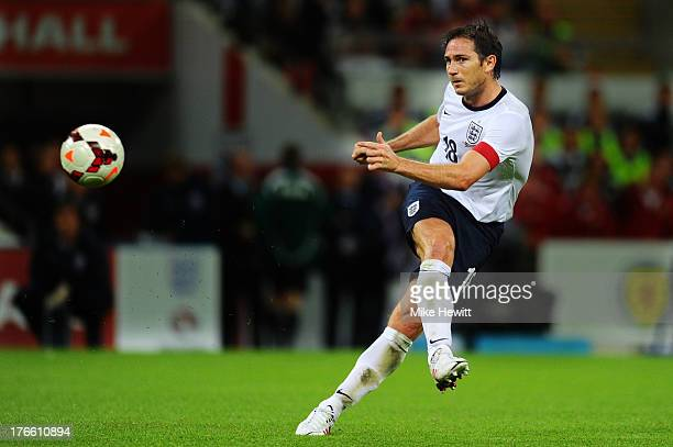 Frank Lampard of England passes the ball during the International Friendly match between England and Scotland at Wembley Stadium on August 14 2013 in...