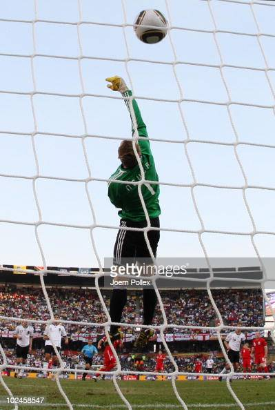Frank Lampard of England scores his team's second goal past Manuel Neuer of Germany which is disallowed during the 2010 FIFA World Cup South Africa...