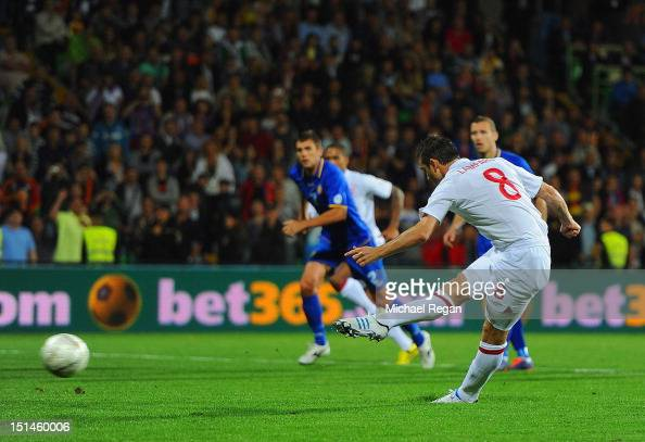 Frank Lampard of England shoots from the penalty spot to score the opening goal of the FIFA 2014 World Cup qualifier match between Moldova and...